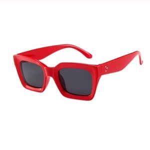 frame vintage sunglasses black square red pin up